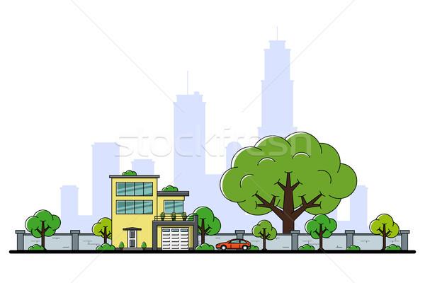 Moderno casa quadro residencial carro árvores Foto stock © shai_halud