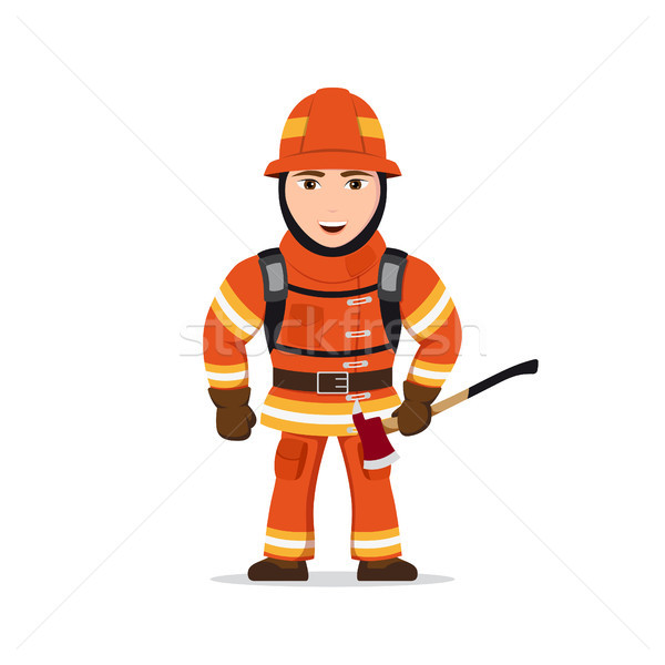 Stock photo: Picture of a firefighter
