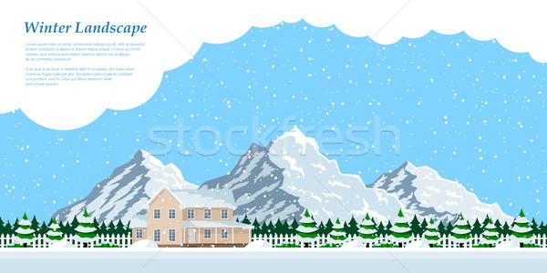 ストックフォト: 冬 · 家 · 風景 · 画像 · 下がり · 雪
