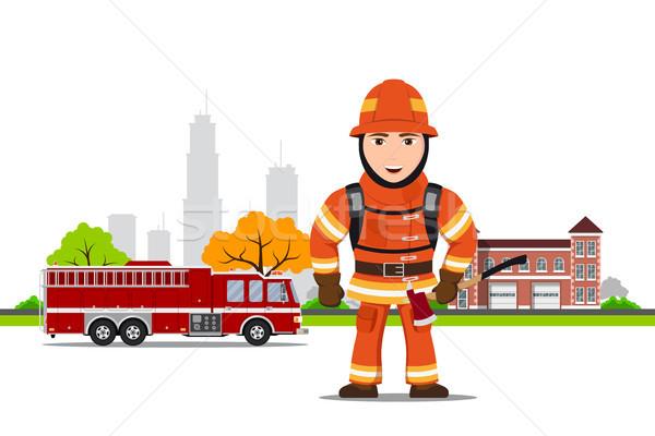 Quadro bombeiro machado edifício Foto stock © shai_halud