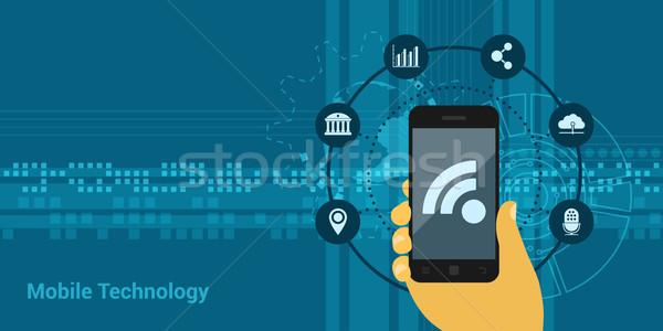 мобильных технологий фотография человеческая рука мобильного телефона иконки Сток-фото © shai_halud