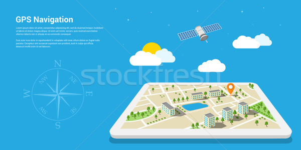 GPS navigation carte style design web Photo stock © shai_halud