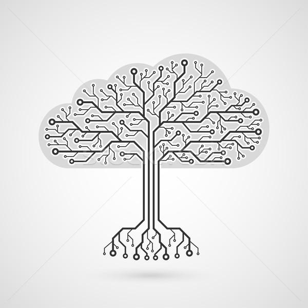 Foto wolk vorm printplaat internet Stockfoto © shai_halud
