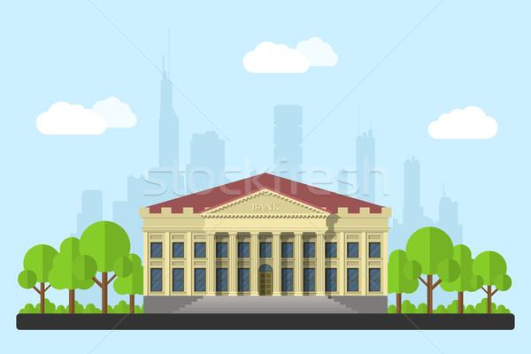 ストックフォト: 銀行 · 画像 · 建物 · 雲 · 木 · ビッグ