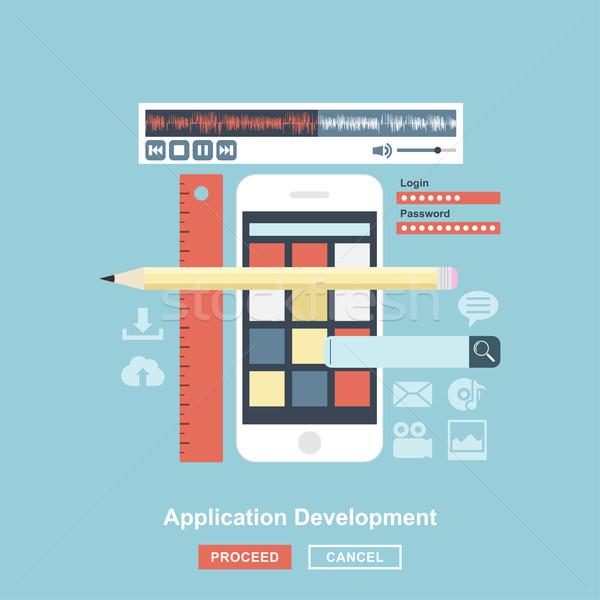 применение развития стиль дизайна мобильных приложения Сток-фото © shai_halud