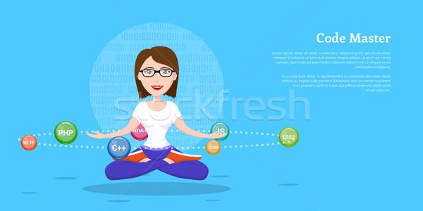 プログラマ 少女 文字 画像 スマート プログラミング ストックフォト © shai_halud
