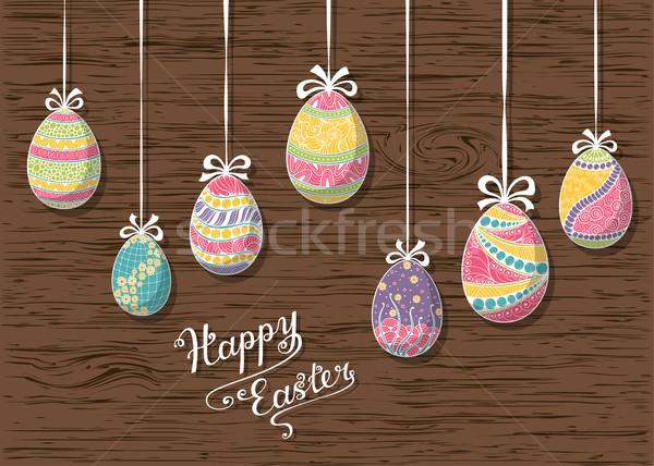 Христос воскрес рисованной пасхальных яиц дизайна Сток-фото © shai_halud