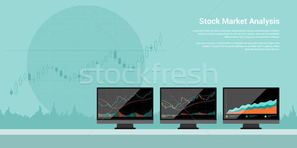Bourse analyse style bannière illustration ligne Photo stock © shai_halud