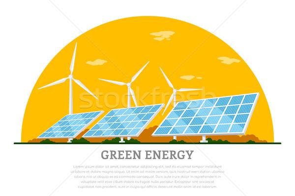 Groene energie foto zonnepanelen stijl banner Stockfoto © shai_halud