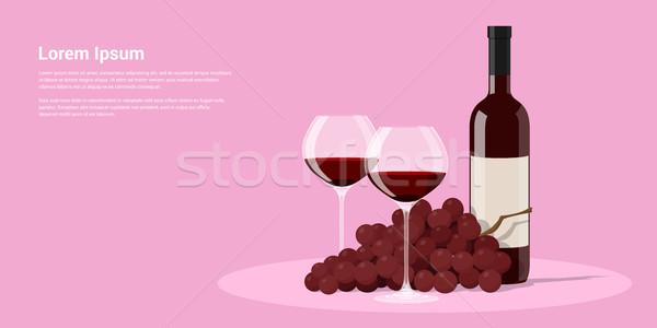 вино виноград фотография бутылку вина два Бокалы Сток-фото © shai_halud