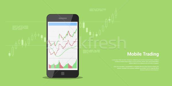 Mobiele handel banner stijl web voorraad Stockfoto © shai_halud