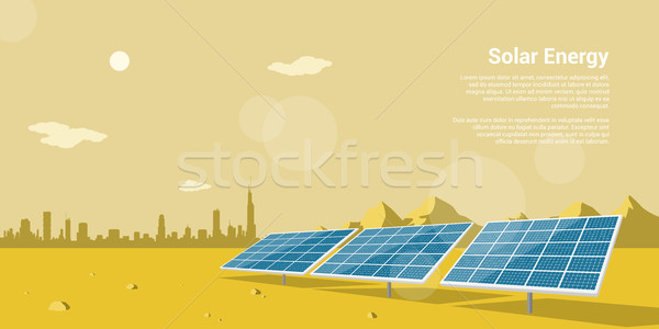 太陽エネルギー 画像 太陽 砂漠 山 ストックフォト © shai_halud