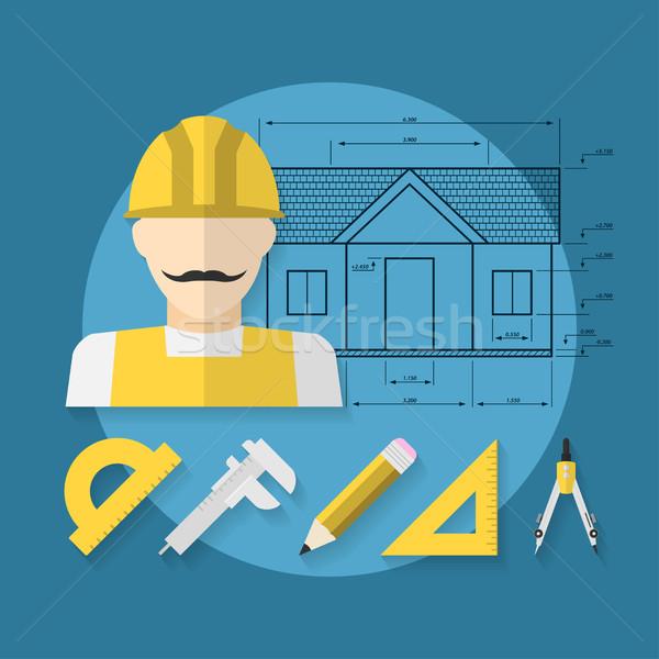 Ház építkezés kép munkás ikon építész Stock fotó © shai_halud