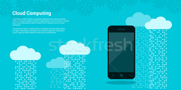 Banner foto mobiele telefoon wolken gegevens Stockfoto © shai_halud