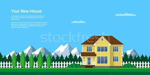 Dağ yaz manzara stil örnek Stok fotoğraf © shai_halud