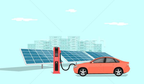 Elektrische auto moderne station zonnepanelen groot Stockfoto © shai_halud