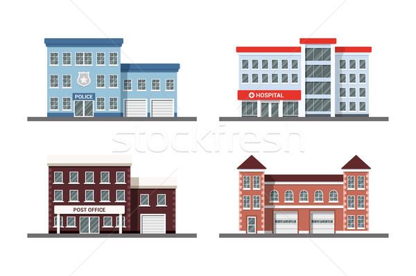 Establecer ciudad edificios edificio iconos policía Foto stock © shai_halud