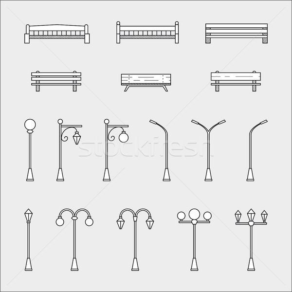 商业照片 / 矢量图: 长凳 · 薄 · 线 · 风格 · 图标 / set of th