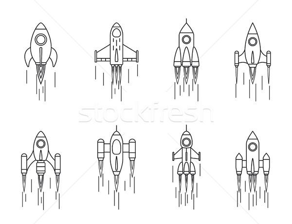 Stock fotó: Szett · rakéta · ikonok · izolált · fehér · vonal