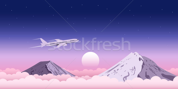 ストックフォト: 飛行 · 雲 · 画像 · 平面 · 山