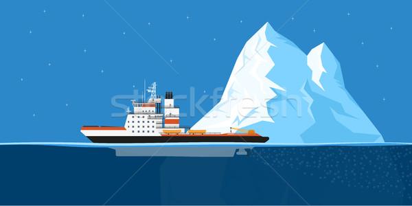 Stock fotó: Jéghegy · hajó · kép · dízel · stílus · illusztráció