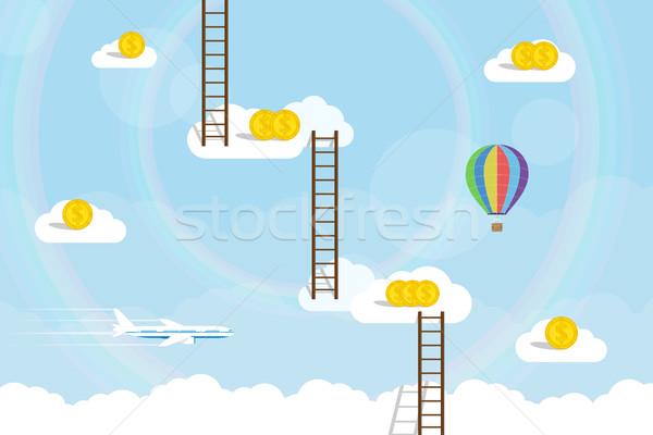 лестница небо фотография облака доллара монетами Сток-фото © shai_halud