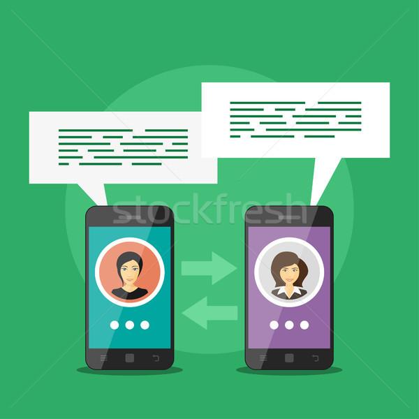 Mobil kommunikáció kép kettő okos telefonok Stock fotó © shai_halud