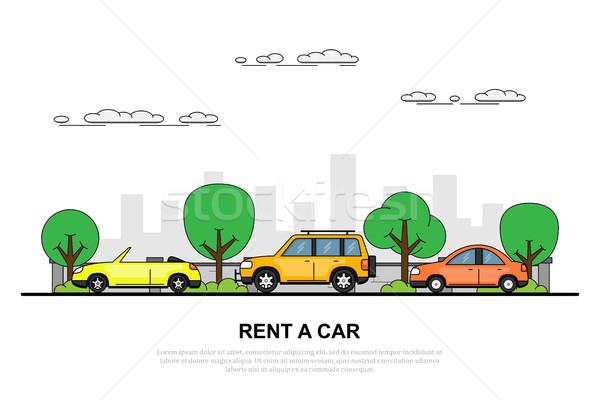 Kira araba afiş resim üç araba Stok fotoğraf © shai_halud