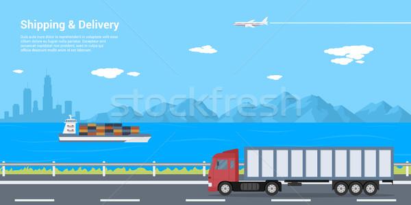 Nakliye teslim resim kamyon yol deniz Stok fotoğraf © shai_halud