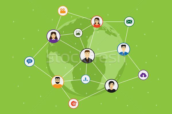 Social media netwerk lijnen cirkels wereldkaart stijl Stockfoto © shai_halud