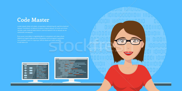 programmer woman character Stock photo © shai_halud