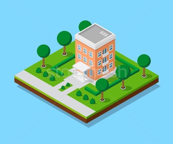 Stockfoto: Isometrische · huis · foto · bomen · laag · stad