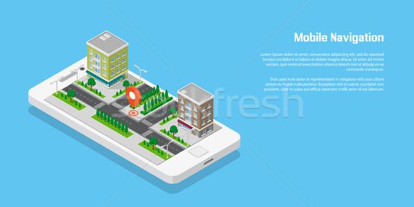 Mobil navigáció izometrikus város utak épületek Stock fotó © shai_halud