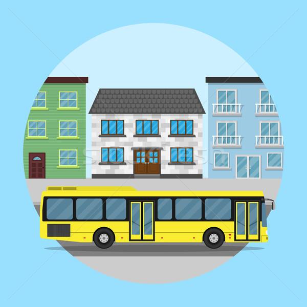 şehir otobüs resim sarı evler stil Stok fotoğraf © shai_halud