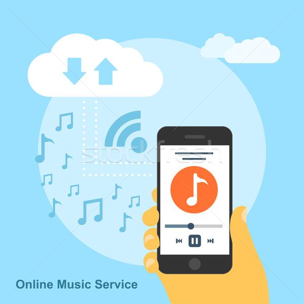 онлайн музыку службе фотография человека смартфон Сток-фото © shai_halud