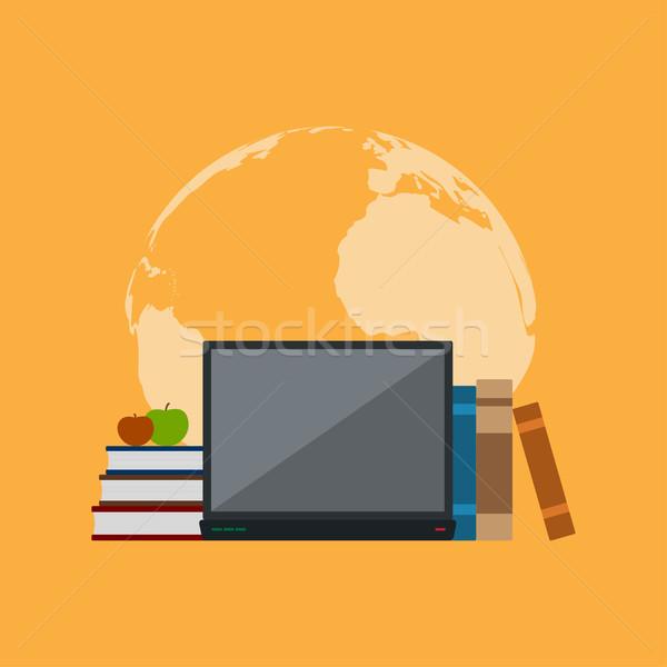 образование фотография книгах ноутбук яблоки Мир карта Сток-фото © shai_halud