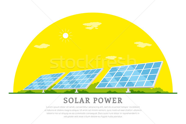 Zonne-energie foto zonne batterijen stijl banner Stockfoto © shai_halud