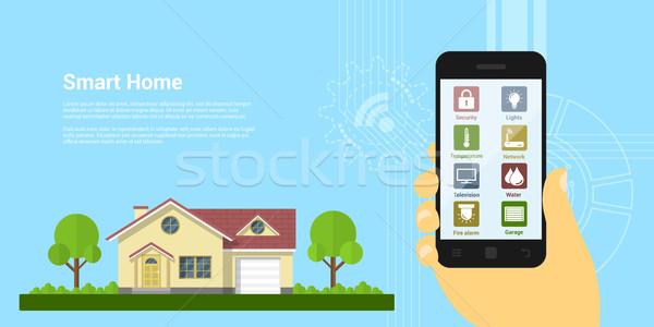 Inteligente casa quadro mão humana Foto stock © shai_halud
