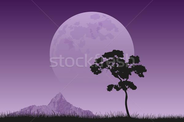 полнолуние фотография дерево черный силуэта Сток-фото © shai_halud