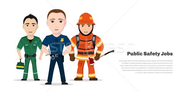 Nyilvános biztonság állások tűzoltó mentős rendőrtiszt Stock fotó © shai_halud