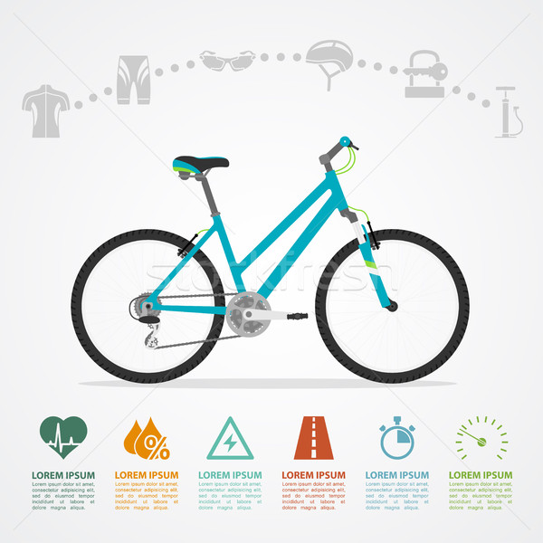 自転車 ライディング インフォグラフィック テンプレート 自転車 アイコン ストックフォト © shai_halud