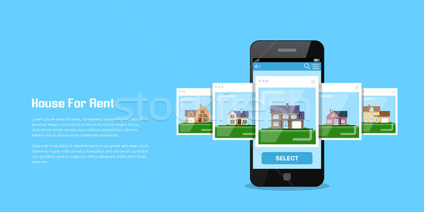 ストックフォト: 家 · 家賃 · 画像 · スマートフォン · アイコン · スタイル