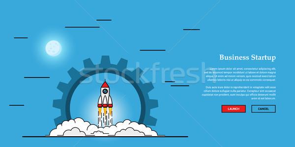 бизнеса запуска баннер фотография Flying ракета Сток-фото © shai_halud