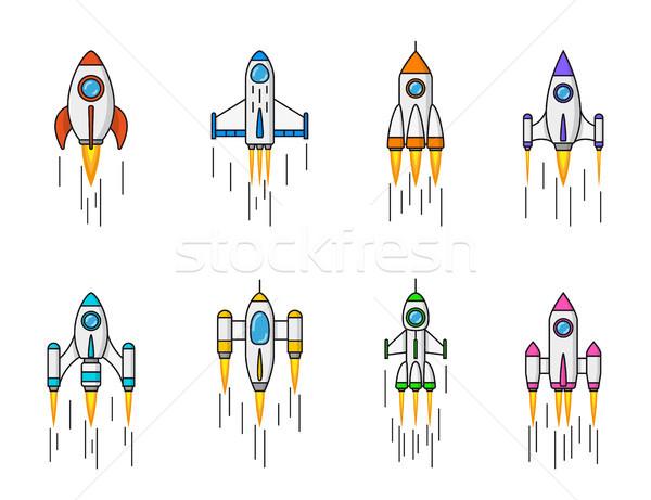 набор ракета иконки изолированный белый линия Сток-фото © shai_halud