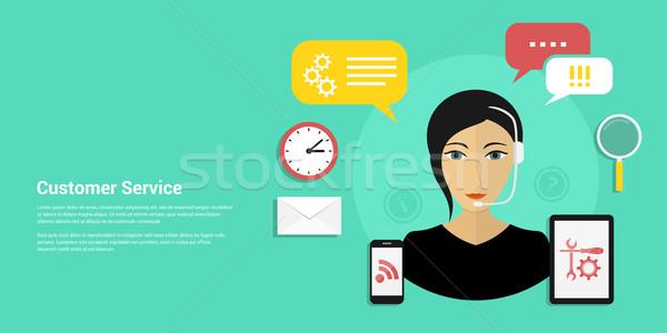 顧客サービス バナー 画像 女性 着用 ヘッド ストックフォト © shai_halud