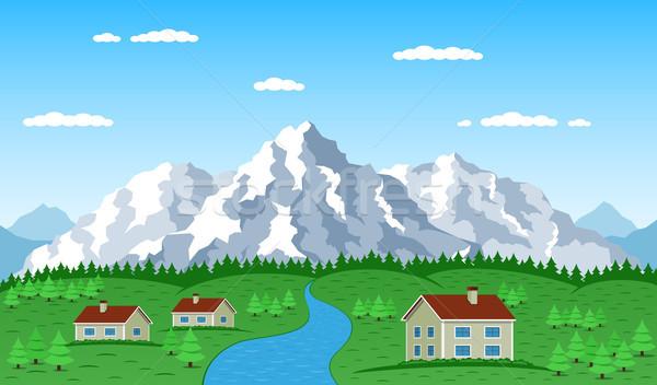 ストックフォト: 山 · 村 · 風景 · 画像 · 住宅 · 木
