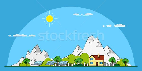 öko otthon szalag zöld lakóövezeti ház Stock fotó © shai_halud