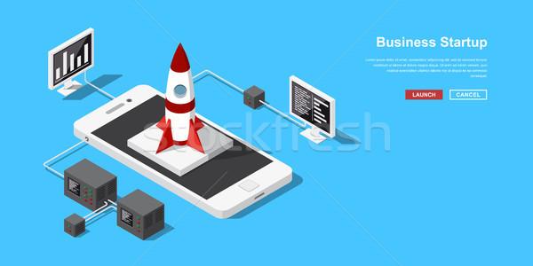 Izometrikus startup indulás mobil alkalmazás új Stock fotó © shai_halud