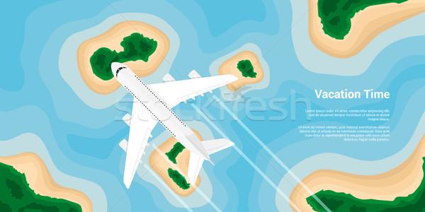 Urlaub Bild Flugzeug unter über Inseln Stock foto © shai_halud