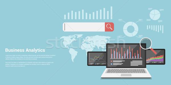 Business analytics stijl banner informatie Zoek Stockfoto © shai_halud